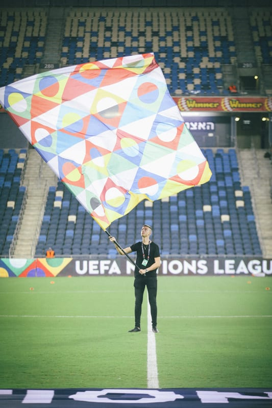 Euro 2020 Tournament Flag at Sammy Ofer Stadium
