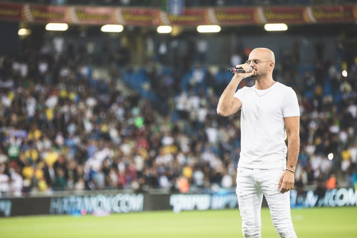 Abraham Tal sing the anthem at Sammy Ofer Stadium