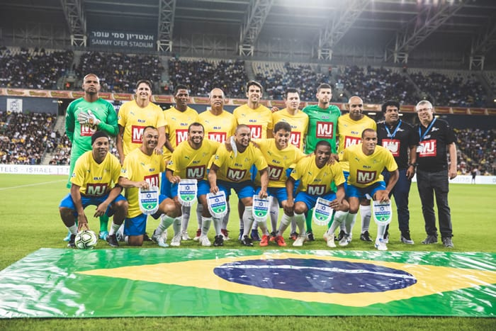 Past players of the Brazil team in the Peace Game at Sami Ofer Stadium